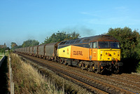 47727 'Rebecca' in beautiful early morning light at Attenborough heading towards Nottingham on 8.9.14 with 6E07 0533 Washwood Heath Met.Cammel - Boston Docks empty covered steel carriers