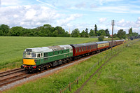 D5401 tnt 33002'Sea King'  at Woodthorpe on 17.6.12 with 1015 Loughborough -  Rothley service at the GCR Diesel Weekend featuring 33002 before returning to  the South Devon Railway