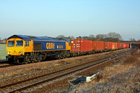 66716 at Thurmaston, MML heading into Leicester on 1.2.12 with 4M29 0442 Felixstowe South Terminal - Barton Dock (Trafford Park) Intermodal