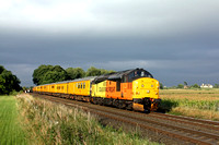 Colas Rail Freight 37219 with 37421 at rear leads a double test train past East Goscote near Syston East Junction on 5.9.16 with 3Z11 1628 Old Dalby - Derby R.T.C.(Network Rail) working under a dark s