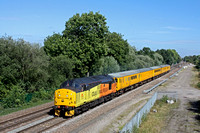 Colas Rail Freight 37175 thrashes past Stenson Junction on 1.9.16 with 3Z06 1300 Derby R.T.C.(Network Rail) -Tyseley L.M.D. test train with a DBSO at front and rear