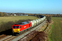 60092 in DB Schenker livery at Lockington heading towards Castle Donington on 17.2.15 with 6Z65 0918 Hope (Earles Sidings)  - Walsall Freight Terminal loaded cement tanks