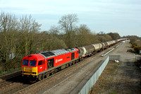 60062 'Stainless Pioneer' at Stenson Junction on 19.3.14 with 6M57 0715 Lindsey Oil Refinery - Kingsbury Oil Sdgs loaded bogie oil tanks