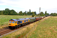 Guest GBRf 66753 pilots D123 at Woodthorpe on 30.8.14 with 0900 'The Master Cutler' Loughborough - Leicester North service at the GCR  Diesel Gala August 2014