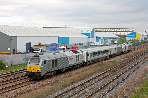 67012 with refurbished Chiltern u0027Plug Dooru0027 Mk3 coach DVT 82303 and 67015 depart Loughborough & Zenfolio   Paul Biggs Photography   May 2013   67012 with ...