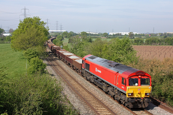 66152 in DB Schenker livery  passes Hemington  near Sheet Stores Jn on 8.5.16 with 6B03  0800 Sileby Jn - Toton North Yard ballast diverted Coalville and Stenson Junction  due to engineering works on