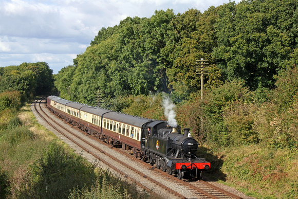 Guest loco from Severn Valley Railway & 4566 Fund, GWR Prairie tank 4500 Class 2-6-2 No.4566 in BR black at Kinchley Lane 6.10.16 with 1430 Loughborough - Leicester North service at GCR Autumn Steam G
