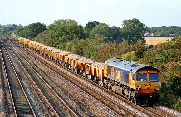 66707'Sir Sam Fay' at Cossington, MML heading towards Syston East Junction on 19.9.08 with 6L24 1445 Mountsorrel - Whitemoor loaded ballast boxes