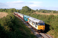 31130 & 31101 seen from the Airmans Bridge, Market Bosworth on 16.9.07 with 1545 Shackerstone - Shenton service at the Battlefield Diesel Gala Sept 2007