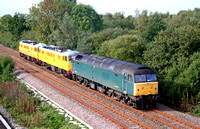 47816 drags Network Rail Ice Breakers 86902 & 86901towards North Staffs Junction on 12.10.06 with 0Z30 Crewe Basford Hall - York move