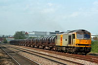60055 in EWS two tone grey livery at Loughborough on 6.5.08 with 6M96 0548 Margam - Corby BSC loaded steel coil wagons