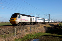 East Coast HST Power Car 43257 with 43296 at rear is seen at Claypole heading towards Newark on 17.2.15 with 1S20 1400 London Kings Cross - Aberdeen ECML service