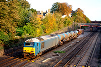 67003 in Arriva blue livery tnt 66140 at Barrow Upon Soar, MML on 24.10.13 with 3J93 1153 West Hampstead North Jn - Toton T.M.D RHTT working in lovely autumn colours in the last throes of the days sun