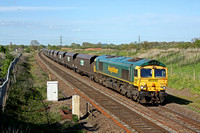 Freightliner 66620 is seen at Barton-Under-Needwood heading towards Wichnor Junction on 11.5.15 with 6M51 1145 Immingham Import Term Fhh - Rugeley B Power Stn loaded FHH coal hoppers