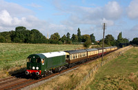 D8098 is seen at Woodthorpe on 31.8.14 with 0850  3S01 Loughborough - Swithland Sdgs lunchtime diner ECS being moved to create room at Loughborough Station at the GCR Diesel Gala Aug 2014
