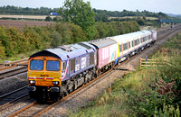 66728 with barriers and 4 car 378004 unit at Cossington, MML on 15.9.09 with 5X78 1020 Shoeburyness - Derby Litchchurch Lane move