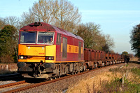 60018 at East Goscote heading towards Syston East Junction on 12.11.07 with 6V92 1010 Corby BSC - Margam empty steel coil wagons