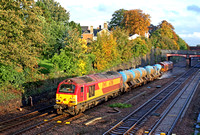 67016 tnt 66140 at Barrow Upon Soar heading towards Loughborough on 22.10.13 with 3J93 1153 West Hampstead North Jn - Toton T.M.D RHTT working in the last rays of Autumn sunshine