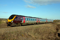 XC Voyager 220008  is seen at Branston, Burton Upon Trent  on 3.12.14 with 1V85 0700 Edinburgh - Reading service