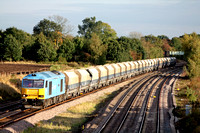 60074 'Teenage Spirit' in powder blue livery at Hathern north of Loughborough on 8.10.09 with 6M87  1203 Ely Papworth Sdgs - Peak Forest empty Cemex hoppers