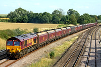 EWS 66160 at Hathern on 16.8.10 with 6A61 1542 Daw Mill Colliery - Ratcliffe Power Station loaded EWS coal hoppers