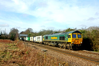 Freightliner 66570 passes Elmsthorpe east of Hinckley on 3.2.17 with 4L93  1008 Lawley Street F.L.T. - Felixstowe North F.L.T. liner via Leicester and Peterborough
