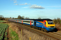 EMT HST  with Power Car 43047 leading and 43046 at rear passes Thurmaston, MML heading towards Leicester on 4.2.17 with 1B53 1350 Grantham  St Pancras International EM service