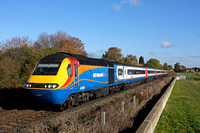 EMT HST with 43082 leading and 43046 at rear passes Attenborough Nature Reserve near Long Eaton  heading towards Trent South Junction on 7.11.16 with 1B33 1032 Nottingham - St Pancras International se