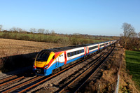 EMT Meridians No's  222009 & 222010 race past Kilby Bridge, MML  heading towards Leicester on 4.12.16 with 1D31 1210 St Pancras International - Nottingham service