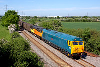 50007 'Hercules' & 56105 with 47739 at rear at Hemington near Castle Donington on 17.5.14 with 6E07 0859 Washwood Heath Met.Cammel -  Boston Docks. Both 50 & 56 were being tested with 47 as insurance