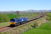 66304 in DRS's latest livery passes Docker, WCML south of Tebay on 3.5.17 with 6K05 1101 Carlisle N.Y. - Crewe Bas Hall S.S.M. departmental