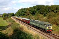 D1705 (47117) 'Sparrowhawk' is seen at Kinchley Lane, GCR on 28.9.14 with 1300 Loughborough - Leicester North diesel summer service