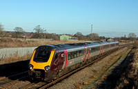 XC Voyager 221124  at Barton-under-Needwood south of Burton on Trent on 14.1.15 with 1V52 0601 Glasgow Central -Plymouth service