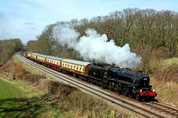 Recent returnee to GCR is LMS Class 5 (Black Five) 4-6-0 No 45305 at Kinchley Lane on 22.3.15 with 1315 'The Elizabethan' Loughborough - Leicester North GCR dining   service