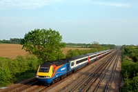 EMT HST 43066 & 43076 passes Cossington, MML heading towards Sileby Junction using the slowline on 9.5.16 with 1D57 1715 St Pancras International - Nottingham service