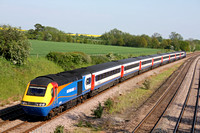 EMT HST 43081 & 43060 at the Old Station, Hathern, MML on 22.5.12 with 1515 London St Pancras International - Nottingham service unusually on the slowline due to operational difficulties