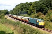 Guest loco from Barrow Hill  26007 with D6535 at rear is seen at Kinchley Lane, GCR on 5.9.15 with 1310 Loughborough - Rothley Brook shuttle service at the GCR Autumn Diesel Gala 2015