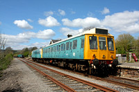 2 Car DMU consisting of Class 117 No W51400 and  BR Class 121 unit No 55032 waits at Redmire Station, Wensleydale Railway on 23.4.17 with 1100 departure to Leeming Bar