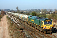 66620 at Trowell Junction heading towards Toton Centre on 12.3.14 with 6L89 1149 Tunstead Sdgs - West Thurrock Sidings loaded LaFarge cement tanks