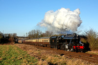 LMS 8F No 48624 passes Woodthorpe on 2.1.17 under a beautiful winter's blue sky with 1415 Loughborough -Leicester North Christmas Holiday service