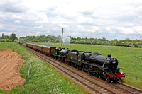 Black Five 45305 & Guest loco S&DJR 7F 2-8-0 No.53808 pass Woodthorpe on 22.5.16 with 2A32 1500 Loughborough - Leicester North service at the GCR Railways at Work Gala May 2016