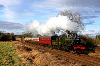 Ivatt Class 2 2-6-0 No.46521 in BR green livery passes Woodthorpe on 28.1.17 with 1445 Loughborough - Rothley Brook local service at the GCR Winter Steam Gala 27 - 29 January 2017