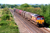 66112 at Willington heading towards Stenson Junction  on 19.7.07 with 6E08 Wolverhampton - Doncaster loaded steel carriers