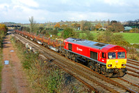 66097 in DB Schenker livery  passes Trowell Junction heading towards Toton Centre on 18.11.14 with 6X01 1017 Scunthorpe Trent T.C. - Eastleigh East Yard  long welded rail train