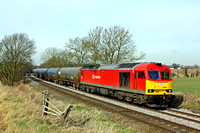 60063 in DB Schenker livery at Chellaston heading towards Castle Donington on 5.3.14 with 6E54 1040 Kingsbury Oil Sidings - Humber Oil Refinery empty blue bogie tanks