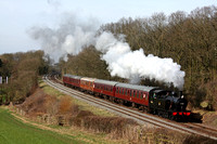 LMS Class 3F (Jinty) 0-6-0T No 47406 at Kinchley Lane on 22.3.15 with 1415 Loughborough - Leicester North GCR service