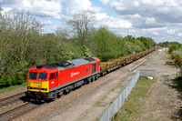 60040 in DB Schenker livery at  Stenson Junction on 6.5.14 with 6X01 1017 Scunthorpe Trent T.C.-  Eastleigh East Yard loaded long rail train