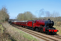 LMS Red 8F 48624 is seen between Kinchley Lane & Swithland Reservoir on 9.3.14 with 1215 Loughborough - Leicester North service at the GCR Peppa Pig & George  Weekend