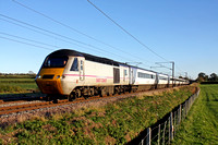 East Coast HST 43308 with 43296 at rear at Hougham north of Grantham on 4.11.13 with 1S20 1400 London Kings Cross - Aberdeen service