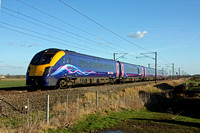 First Hull Trains 180113 is seen at Claypole heading towards Newark on 17.2.15 with 1H04 1348 London Kings Cross - Hull service
